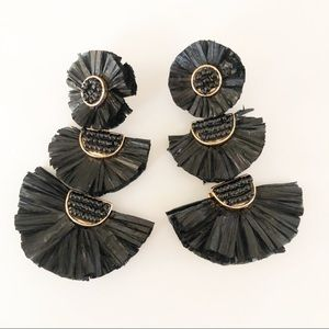 Jewelry - Black Raffia Statement Drop Earrings.